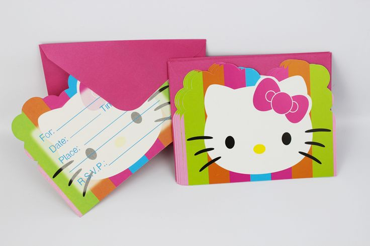 6pcs Envelop Shape Hello Kitty  Theme Party Invitation Card Kids Baby Birthday/Festival Party Card Decoration Supplies