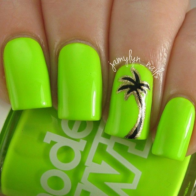 """ Talk about BRIGHT! This is 'Flip Flop' by @modelsownofficial. Two coats plus top coat. Super creamy and awesome... I love it so much! These are…"""
