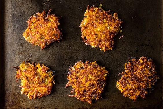 Sweet Potato Parsnip Latkes with Feta and Leeks | Recipe | Feta ...