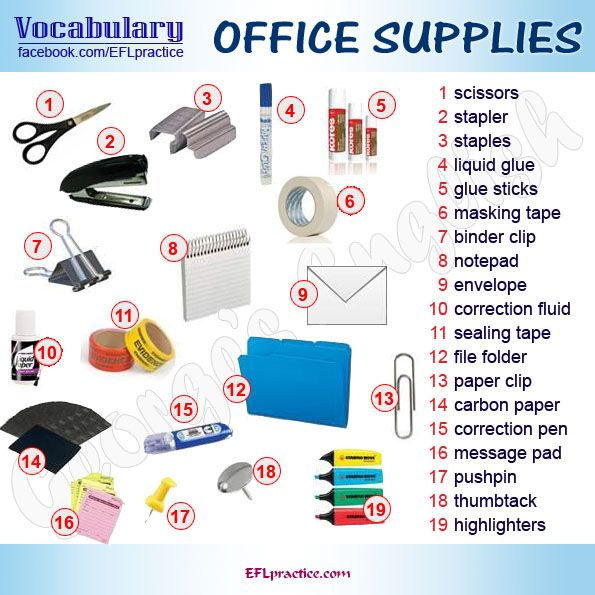 Office supplies vocabulary pictures pinterest for Bureau in english
