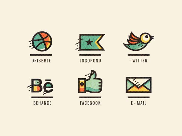 Adline icons (retouched) by szende brassai, via Behance