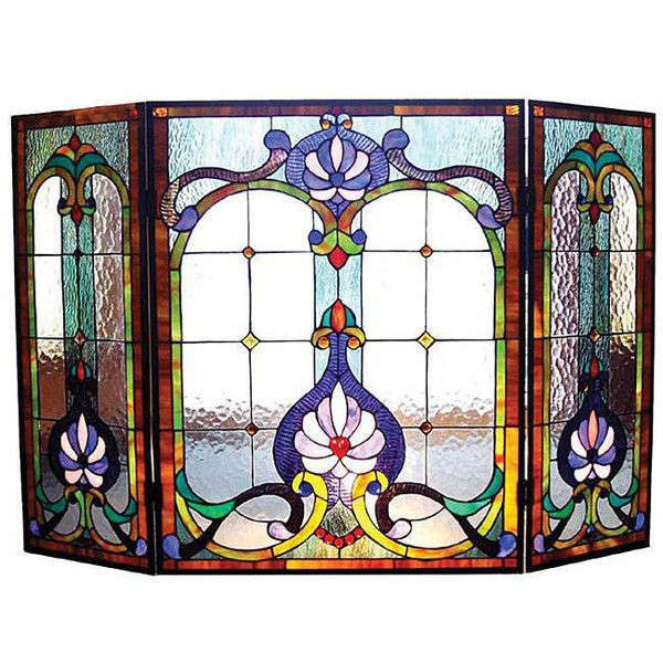 Chloe Victorian Stained Glass Fireplace Screen ($227) ❤ liked on Polyvore featuring home, home decor, fireplace accessories, blue, fireplace screens, victorian home decor, wood burning fireplace accessories, fire-place screen and victorian stained glass