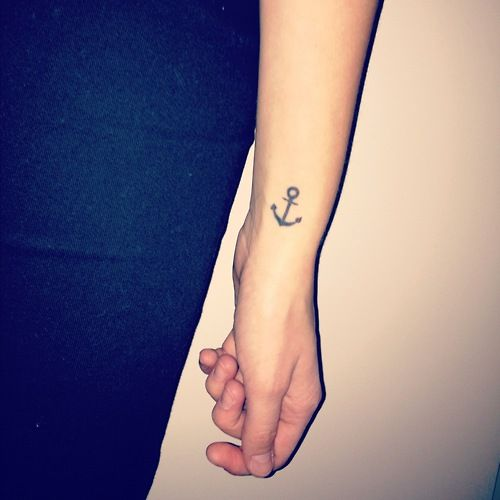 Cute Small Anchor Tattoo On Wrist for Hebrews 6:19 the promises of God are an anchor of hope.