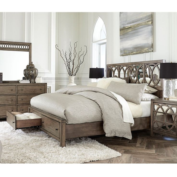 Tildon Wood Mirrored Panel Storage Bed In Mink By Aspenhome Is This  Available Without The Headboard