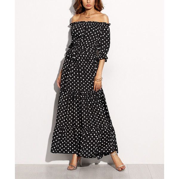 LAKLOOK Black & White Polka Dot Ruffle Off-Shoulder Maxi Dress ($40) ❤ liked on Polyvore featuring dresses, long maxi dresses, black and white dresses, off the shoulder long dress, white and black polka dot dress and off the shoulder ruffle dress