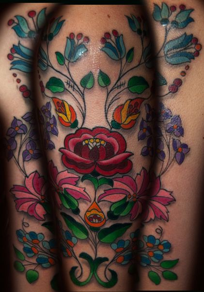 Hungarian Folk Art tattoo by Steve Martin