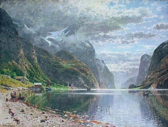 Adelsteen Normann (1848-1918): Fjordlandskap med folkeliv