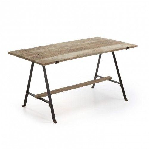 Mesa Moret. Mesa con pies de hierro negro y sobre de madera de mango en acabado natural. Una mesa que desborda autenticidad y un estilo único. Outlet Hogar Mallorca