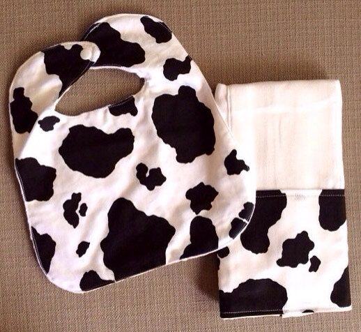 Baby Bib and Burp Cloth Set - Black and White Cow Print on Etsy, $15.00