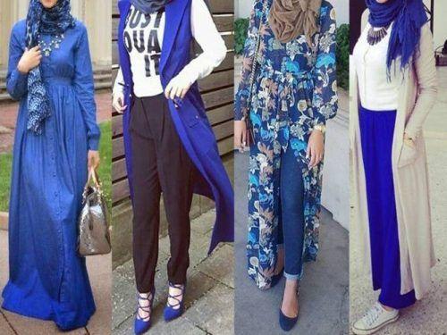 blue-hijab-outfits- Hijab fashion gallery http://www.justtrendygirls.com/hijab-fashion-gallery/