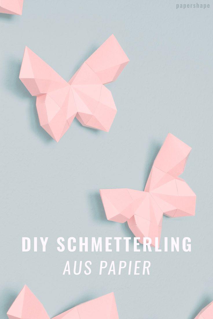 3d Schmetterling Basteln Als Wanddeko Mit Kostenloser Vorlage