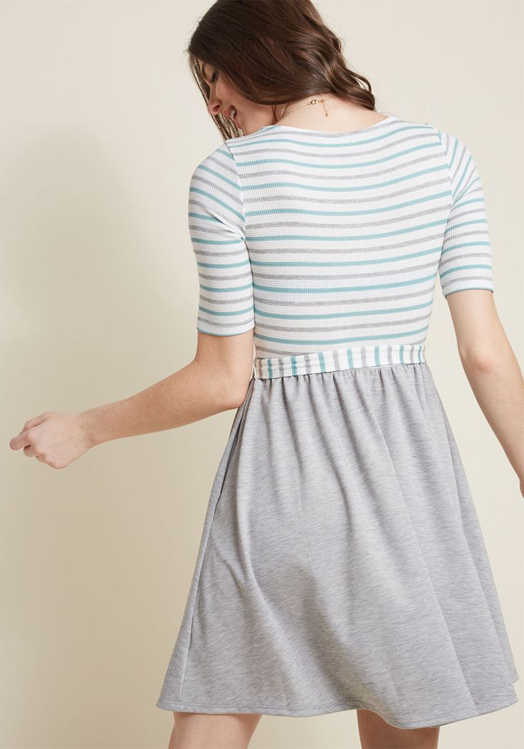 In the Very Near Twofer Striped Dress in Heather Grey - You don't need to be a fortune teller to see that this twofer dress will become an integral part of your wardrobe! A ModCloth-exclusive design with trending potential, this casual A-line - with its waffle knit bodice, striped in grey and robin's egg blue, cropped sleeves, and pleated skirt - is a sign of fashionable times to come!