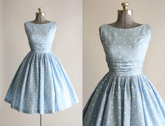 Vintage 1950s Dress / 50s Cotton Dress / Blue and White Polka Dot Dress w/ Ruching XS