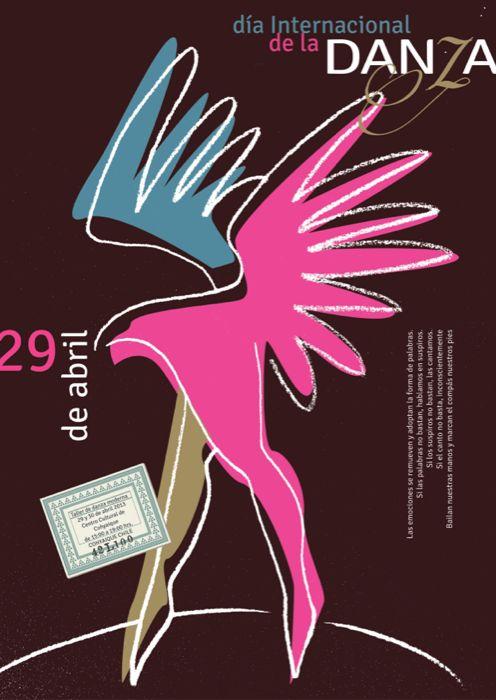 Afiche para evento del Día de la Danza, pieza seleccionada para la bienal del cartel de Bolivia 2014