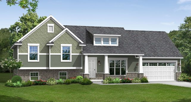 Split Level Custom Home Designs: The Lexington | Wayne Homes  Craftsman split-level.