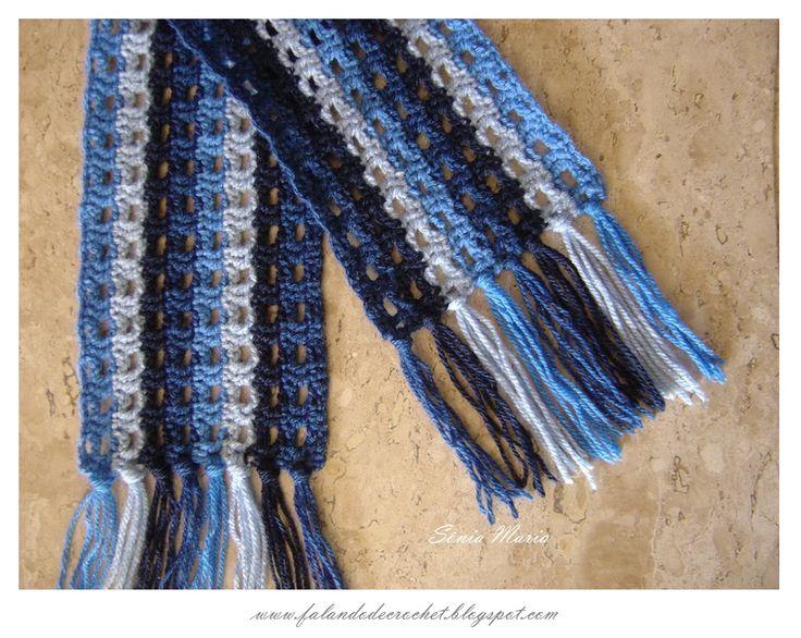 FALANDO DE CROCHET: CACHECOL DE CROCHE REDE AZUL EM DEGRADE (crocheted scarf)(Schal, häkeln)(bufanda, croché)(foulard, crochet)(cachecol de croché)