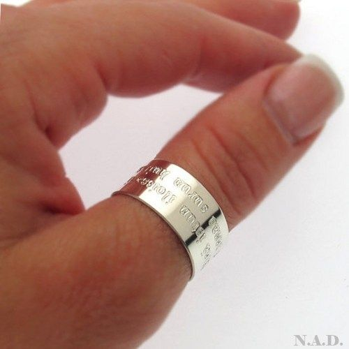 Lovely, shiny sterling silver jewelry piece. Unisex ring, suitable both for men and women. $58.50 / adjustable Enjoy the fashion ring! It can be personalized as you wish, with up to 30-32 characters in two lines. Great