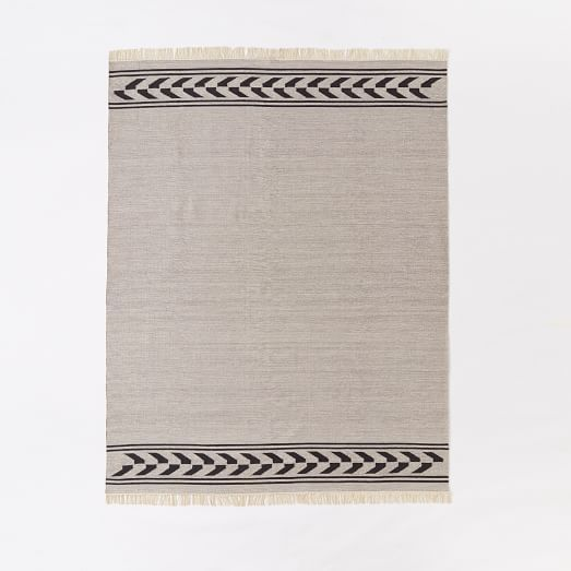 9x12. Steven Alan Arrow Border Cotton Kilim Rug - Feather Gray | West Elm