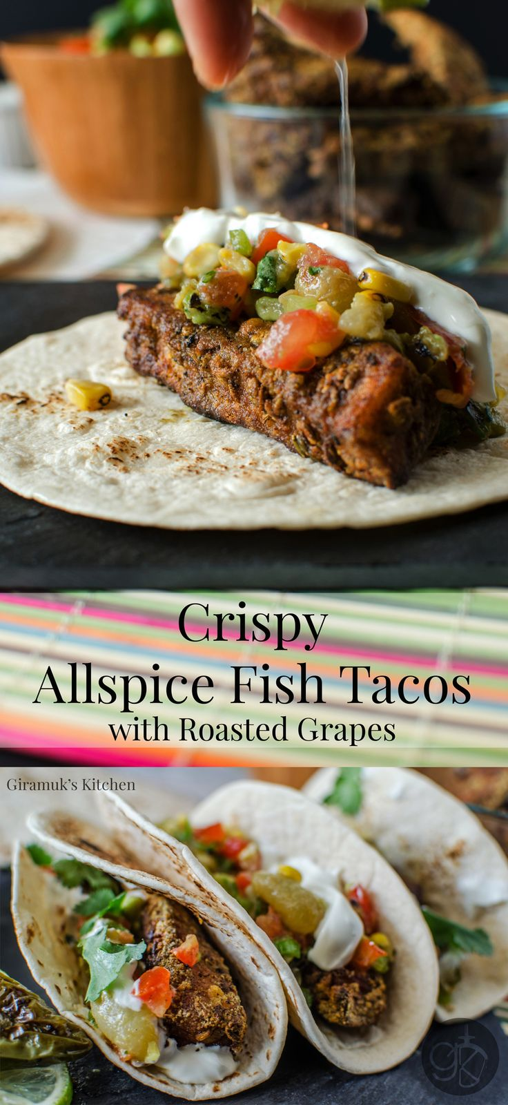 Crispy Allspice Fish Tacos with Roasted Grapes
