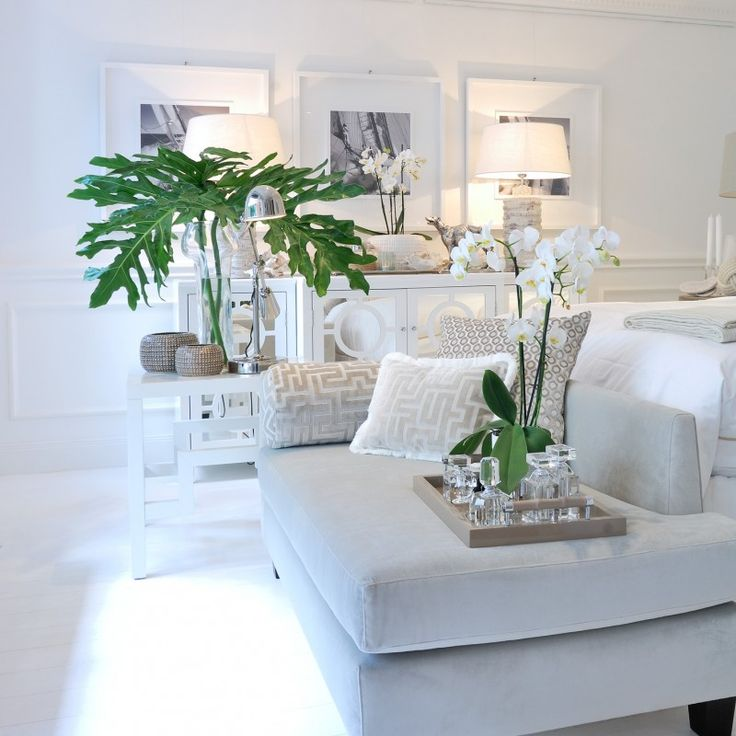 Light, white living room with natural accents
