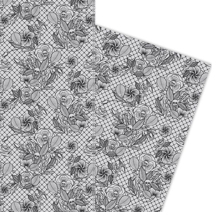 Florales Totenkopf Geschenkpapier nicht nur zu Halloween (4 Bögen, 32 x 47,5 cm), schwarz auf grau 1