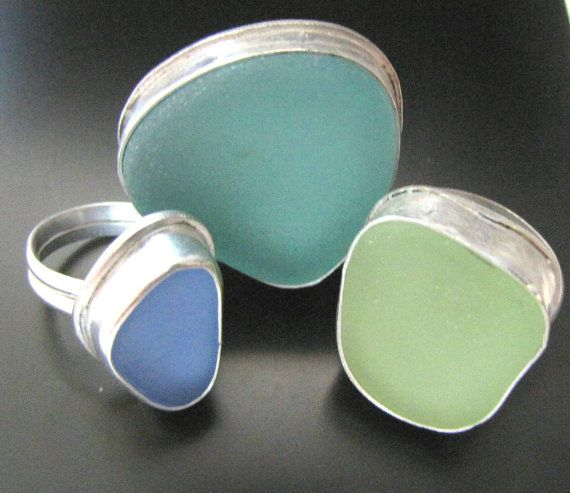 Rings | West Coast Sea Glass Designs.  Sterling silver and sea glass.