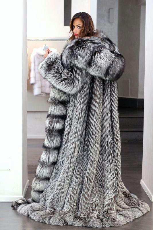 Gigantic hooded Silver fox fur coat