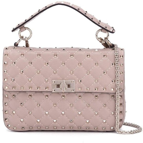 Valentino Garavani Rockstud Spike shoulder bag (31.714.695 IDR) ❤ liked on Polyvore featuring bags, handbags, shoulder bags, beige, beige purse, spiked purse, chain strap handbag, chain shoulder bag and locking purse