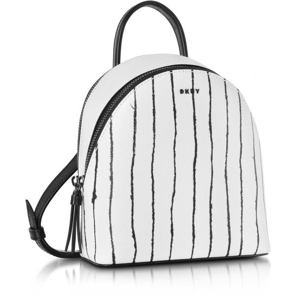 DKNY Handbags Twine Stripe Leather Mini Backpack (885 MYR) ❤ liked on Polyvore featuring bags, backpacks, striped backpack, leather backpack, white leather bag, mini backpack and real leather backpack