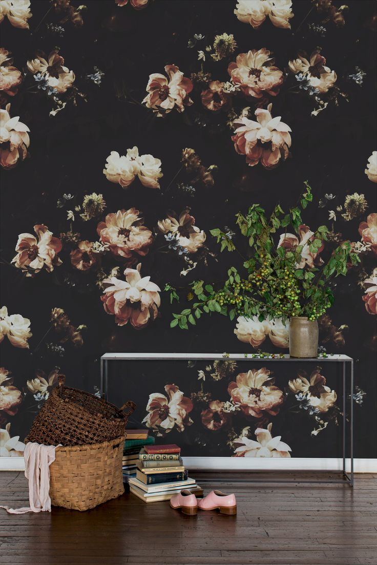 Black floral print wallpaper dark floral wallpaper by ellie cashman - Photographer Ashley Woodson Bailey Debuts Six Dramatic Wallpapers Flower Wallpaperblack