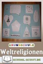 Ob Christentum, Judentum, Islam, Hinduismus oder Buddhismus  - mit diesem Lapbook erarbeiten sich Kinder die Weltreligionen spielerisch.