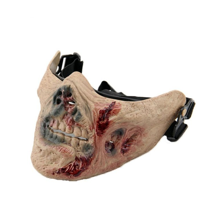 Scary Half Face Zombie Halloween Mask - Plastic