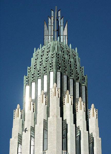 Detail of the tower of the Boston Avenue United Methodist Church