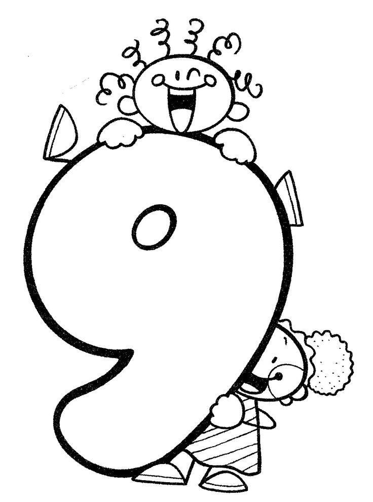 Material didáctico para niños. El número nueve, 9. Para imprimir, colorear, pintar, decorar.