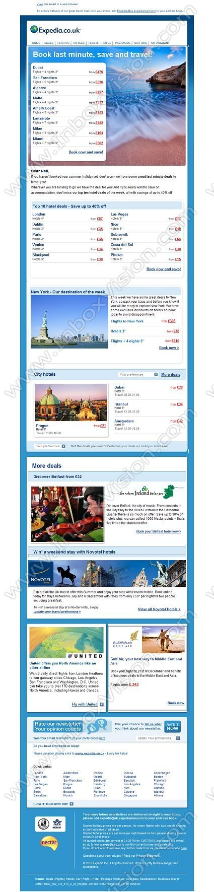 Company:    Expedia.co.uk    Subject:    Last minute summer holidays! Book today and save             INBOXVISION is a global database and email gallery of 1.5 million B2C and B2B promotional emails and newsletter templates, providing email design ideas and email marketing intelligence http://www.inboxvision.com/blog
