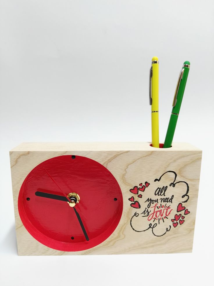 Solid wood clock - hand painted