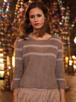 CHABLIS Cropped sweater with pretty lace detail by Marie Wallin