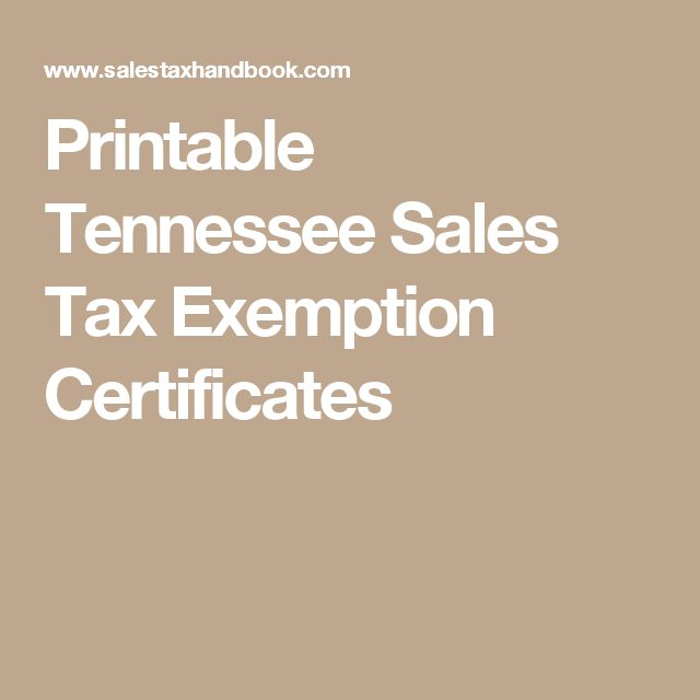 Printable Tennessee Sales Tax Exemption Certificates