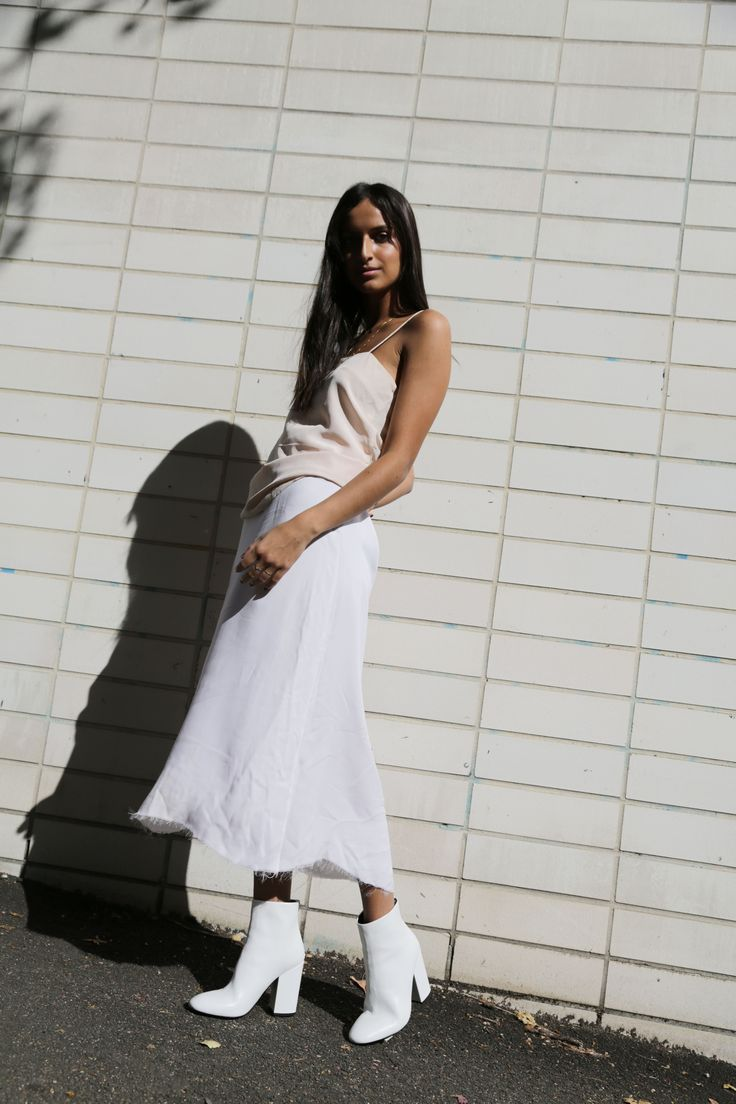 The White Edit: Bella Thomas wears 'Nyx' White Nappa Stretch. #thewhiteedit x #tonybianco