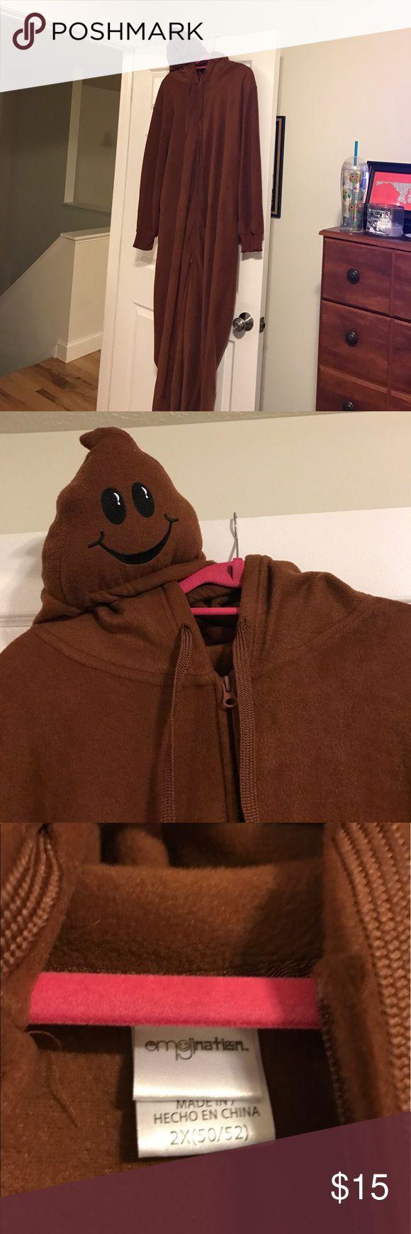 Poop emoji onesie Super cute and funny onesie! Works for man or woman. Hood is poop emoji Intimates & Sleepwear Pajamas