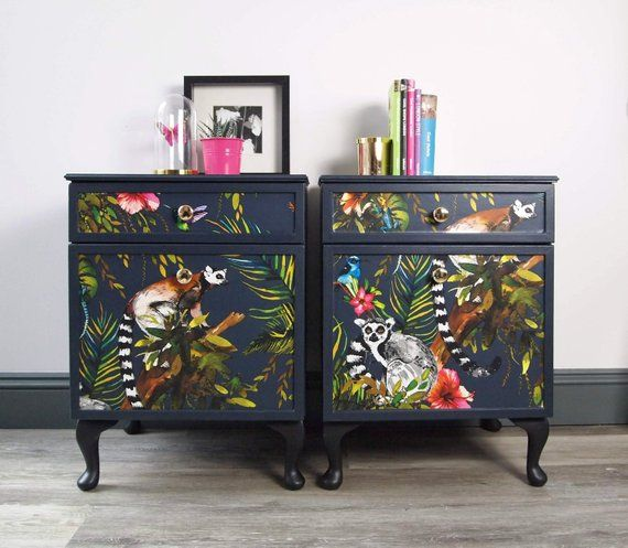 Not For Sale Example Only Pair Of Painted Vintage Dark Blue Bedside Cabinets With Lemur Decoupag Painted Furniture Hand Painted Furniture Furniture Makeover