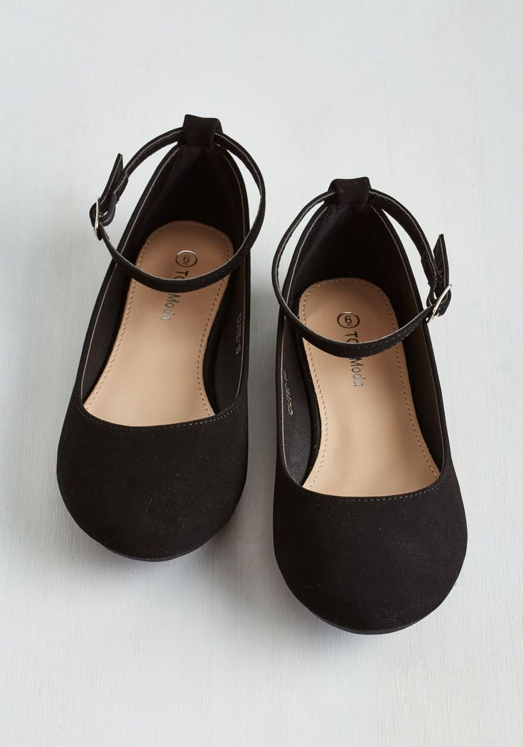 Here to Staple Flat in Black. Once these mega-versatile flats find their way into your wardrobe, youll be pairing them with seemingly endless ensembles! #black #modcloth