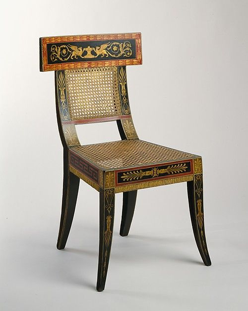 Side chair from the Waln group of furniture, Philadelphia, Designed by Benjamin Henry Latrobe and painted by George Bridport around 1808. Collection: Metropolitan Museum of Art.