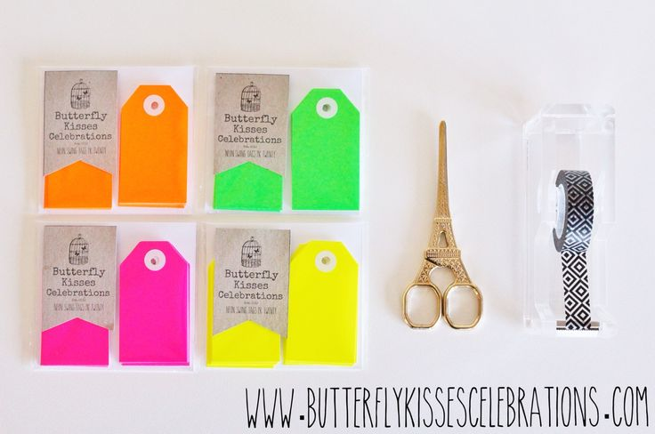 Neon swing tags now available at www.butterflykissescelebrations.com! For more inspiration visit us at www.facebook.com/ButterflyKissesCelebrations!