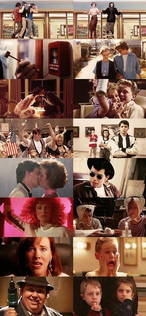 """John Hughes  """"Clube dos Cinco"""" (The Breakfast Club,1985) """"Alguém Muito Especial"""" (Some Kind of Wonderful,1987) """"Gatinhas e Gatões"""" (Sixteen Candles,1984) """"Curtindo a Vida Adoidado"""" (Ferris Bueller's Day Off,1986) """"A Garota de Rosa- Shocking"""" (Pretty In Pink,1986) """"Mulher Nota 1000"""" (Weird Science, 1985) """"Esqueceram de Mim"""" (Home Alone,1990) """"Quem Vê Cara Não Vê Coração"""" (Uncle Buck, 1989)"""