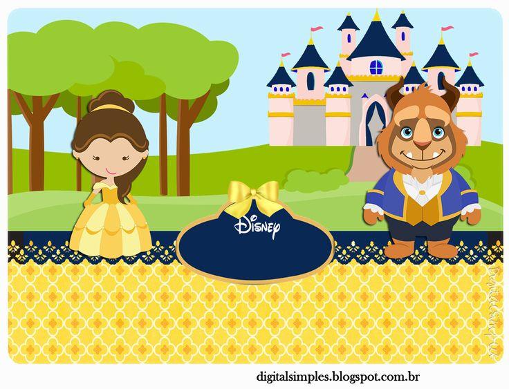 """Convites Digitais Simples: Kit de Personalizados Tema """"A Bela e a Fera"""" para…"""