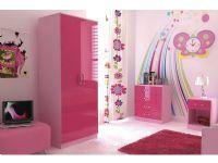 Ottawa High Gloss Pink 3 Piece Girls Bedroom Furniture Set