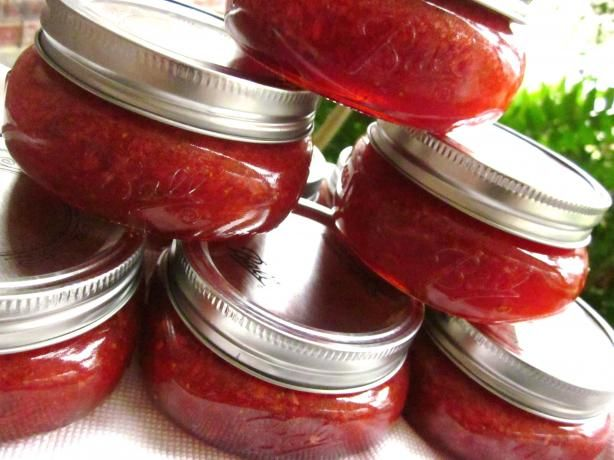 Strawberry Mixed Pepper Jam - I used a mix of habaneros, jalapenos, serranos and long hot Italian peppers from my garden. I left some of the seeds in for the heat! I also increased the pectin to 1-1/2 pkgs as per other comments about being runny. We've been tasting from the side of the pot and boy is it yummy! A good burn, but not over the top hot!