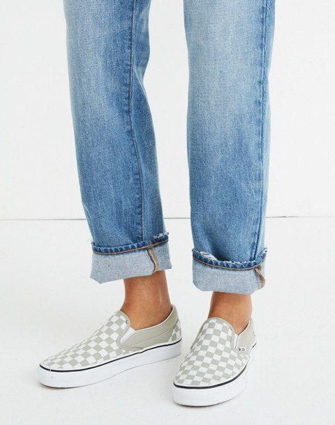 cd98ad94fc Vans® Unisex Classic Slip-On Sneakers in Desert Sage Checkerboard in ...