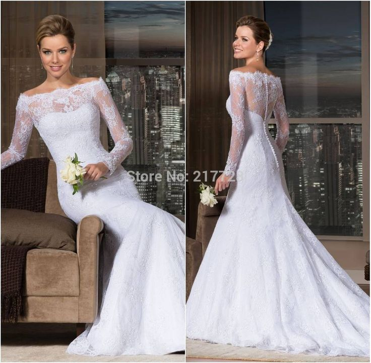 Бразилия мода кружева бато декольте с длинными рукавами русалка свадебное платье 2016 свадебное платье Vestido де Noiva 2016 манга лонга Sereia